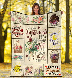 To My Dear Daughter-In-Law I Didn't Give You The Gift Of Life Flower Fleece Blanket - ATMTEE