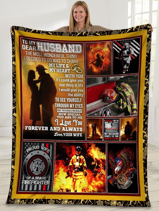 To My Dear Husband The Most Wonderful Thing Firefighter American USA Flag Sherpa Blanket