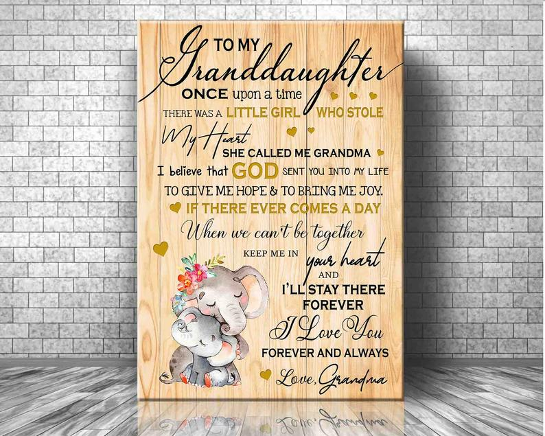 To My Granddaughter Canvas, Gifts For Granddaughter, Birthday Gifts Idea For Granddaughter Elephant Canvas - ATMTEE