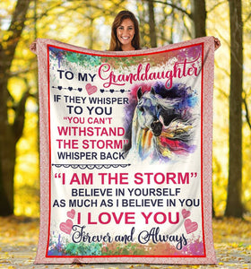 To My Granddaughter If They Whisper To You You Can't Withstand The Storm Unicorn Sherpa Blanket - ATMTEE