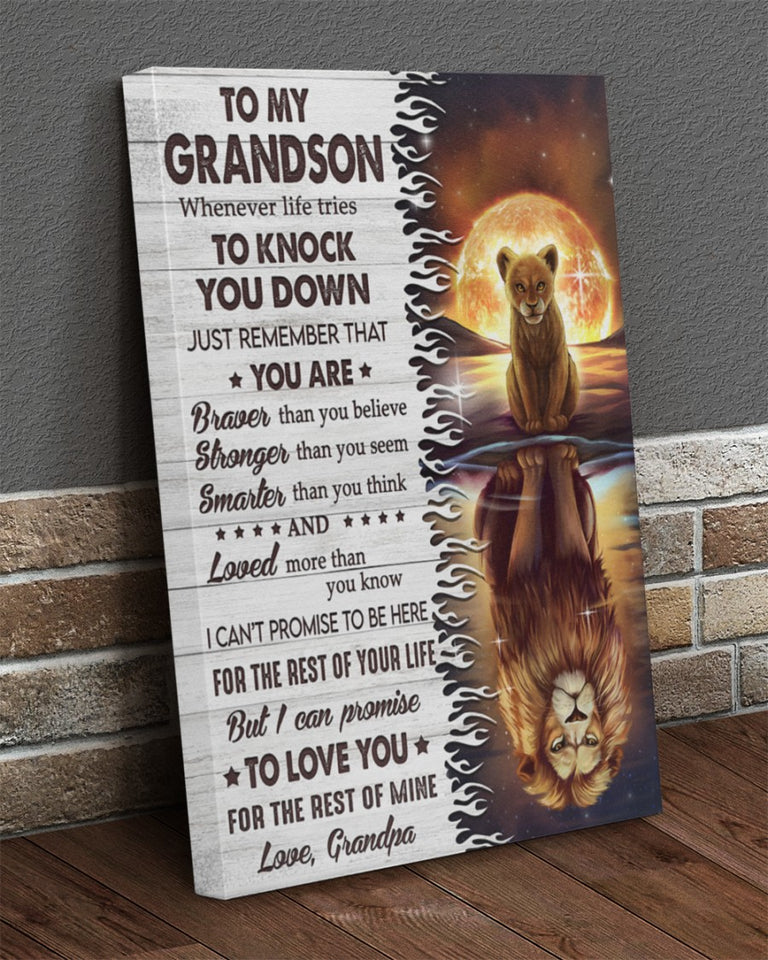 Grandson Canvas, Gift Ideas For Grandson, To My Grandson Whenever Life Tries To Knock You Down Lion Canvas - ATMTEE