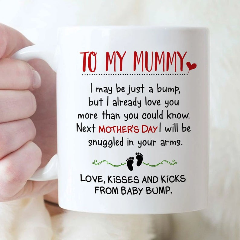 To My Mommy Mug, Love Message From Bump, Pregnancy Announcement Mug, Gift For Mothers Day, New Mom Mug - ATMTEE