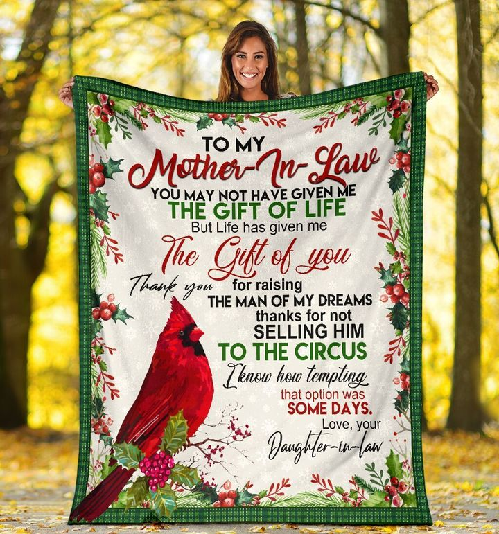 To My Mother In Law You May Not Have Given Me Red Cardinal Bird Fleece Blanket - ATMTEE