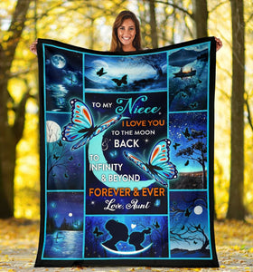 To My Niece, I Love You To The Moon And Back To Infinity 3D Butterfly Fleece Blanket - ATMTEE