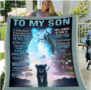 To My Son, I Will Always Be There To Love You Lion Sherpa Blanket