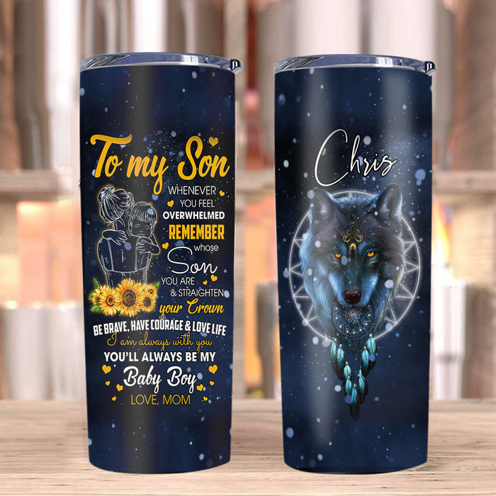 Personalized To My Son Tumbler, Birthday Gifts For Son, When Ever You Feel Wolf Stainless Steel Tumbler - ATMTEE