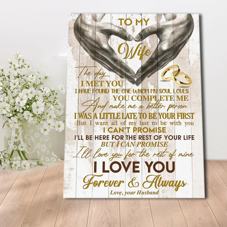 To My Wife Canvas, I'll Love You For The Rest Of Mine Canvas - Gift For Wife - Canvas Wall Art - Family Quotes - Wall Decor, Canvas Wall Art - ATMTEE
