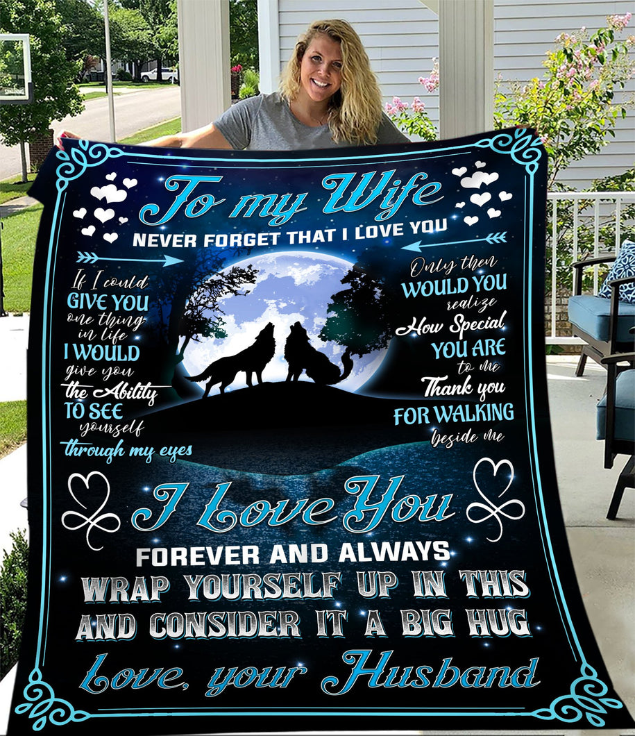 To My Wife Never Forget That I Love You Wolf Sherpa Blanket - ATMTEE
