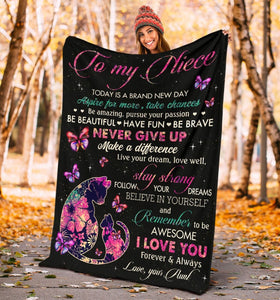 Personalized Blanket To My Niece Today Is A Brand New Day Aspire For More, Take Chances Fleece Blanket - ATMTEE