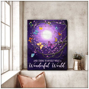 Butterfly Canvas Wall Art - Motivational Quotes Canvas - Wonderful World Butterfly Canvas Wall Art Decor - ATMTEE