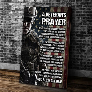 A Veteran's Prayer God Bless The USA Matte Canvas - ATMTEE