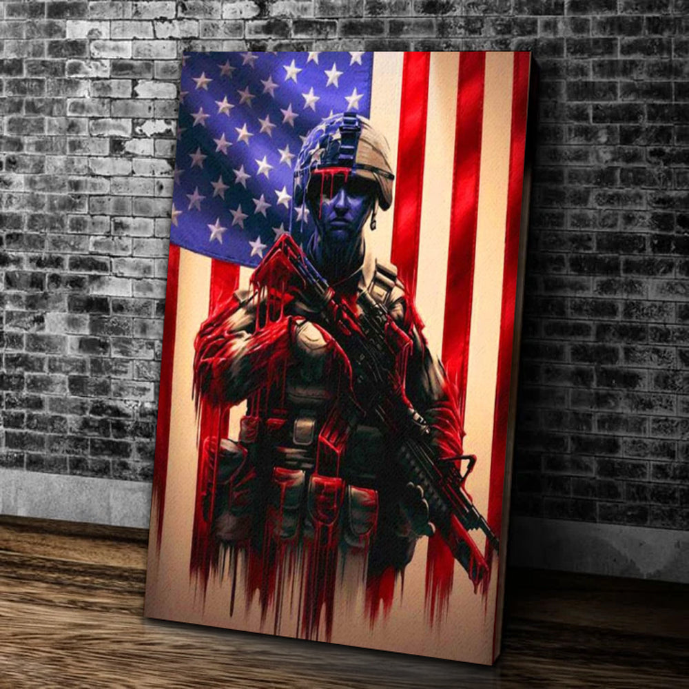 American Flag Canvas Wall Military Soldiers Army Matte Canvas - ATMTEE