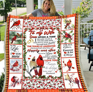 To My Wife Love From Husband Cardinal Birds, To My Wife Blanket, Gift For Wife Fleece Blanket - ATMTEE