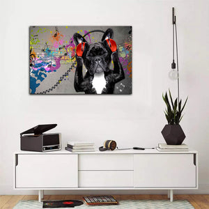 Funny Dog Canvas, Gifts For Dog Lover, Dog Listen Music Canvas, Wall Art Decor Canvas - ATMTEE