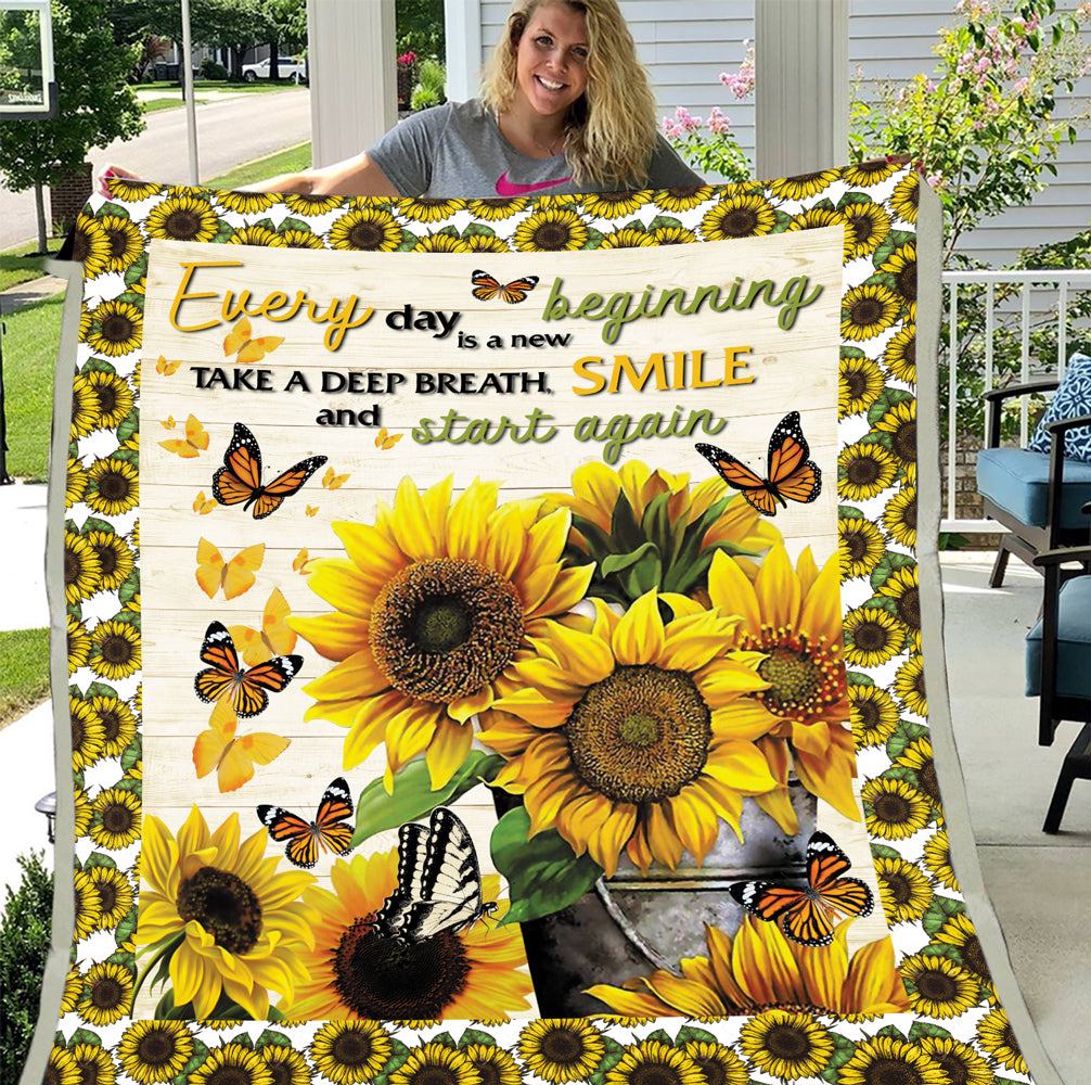 Everyday Is A New Beginning Take A Deep Breath Smile And Start Again Sunflower Hippie Fleece Blanket - ATMTEE