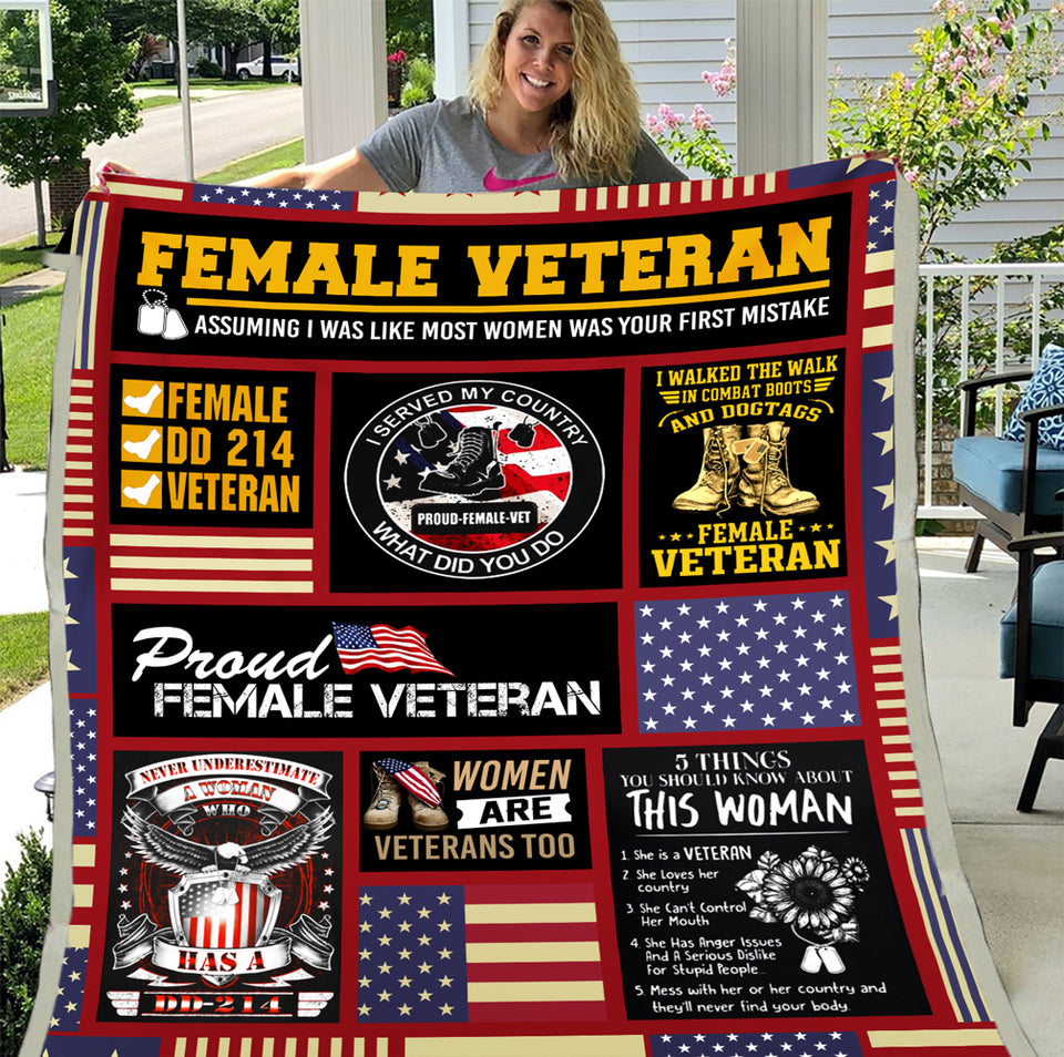 Female Veteran Blanket Proud Female Veteran ATM-USBL77 Fleece Blanket - ATMTEE
