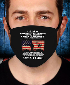 I Am A Grumpy Veteran I Don't Care Face Cover - ATMTEE