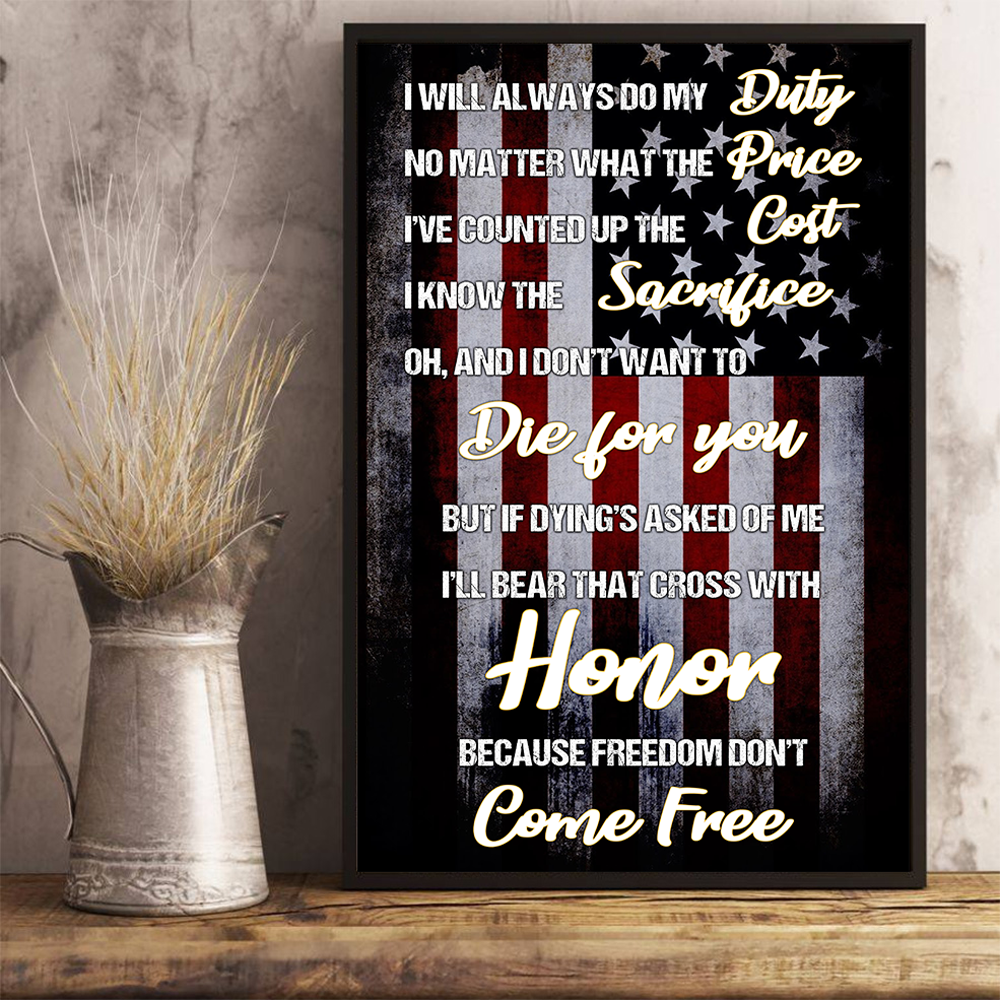 Veteran No Matter What The Price Vertical Poster - ATMTEE