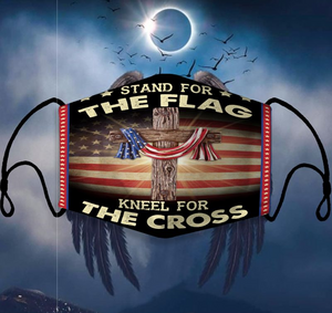 Stand For The Flag Kneel For The Cross Face Cover - ATMTEE