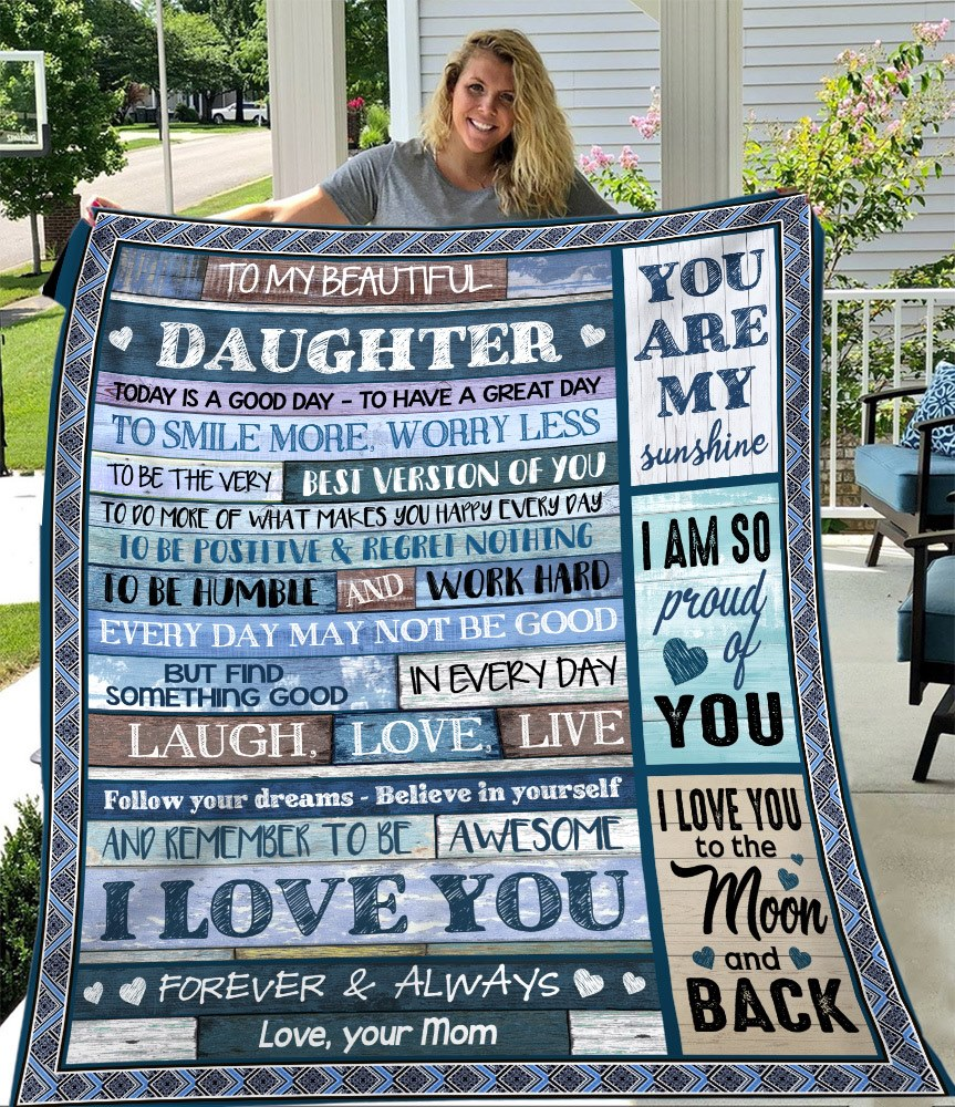 Personalized Blanket To My Beautiful Daughter To Smile More, Worry Less, Gift For Daughter Fleece Blanket - ATMTEE