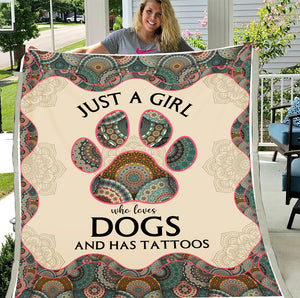 Just A Girl Who Loves Dogs And Has Tattoos Fleece Blanket - ATMTEE