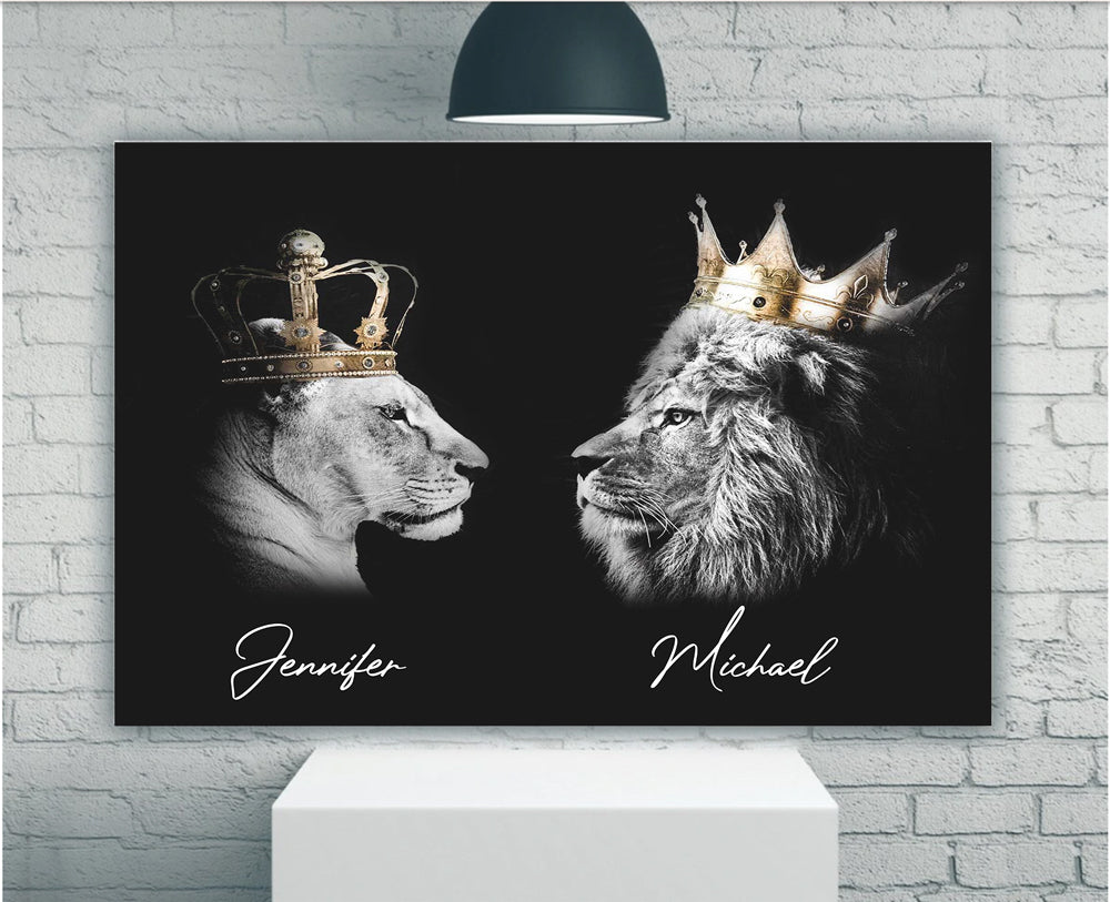 Personalized King And Queen Lions Matte Canvas - ATMTEE