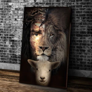 Jesus Lion And Lamb The Perfect Combination Canvas, Lion Of Judah, Easter Canvas, Christian Canvas - ATMTEE