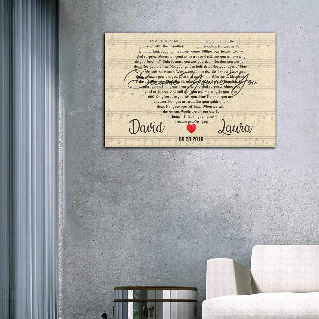 Custom Song Lyrics Heart Art, Personalized Name Canvas, Valentine's Day Gifts For Him, Gifts For Her Canvas - ATMTEE