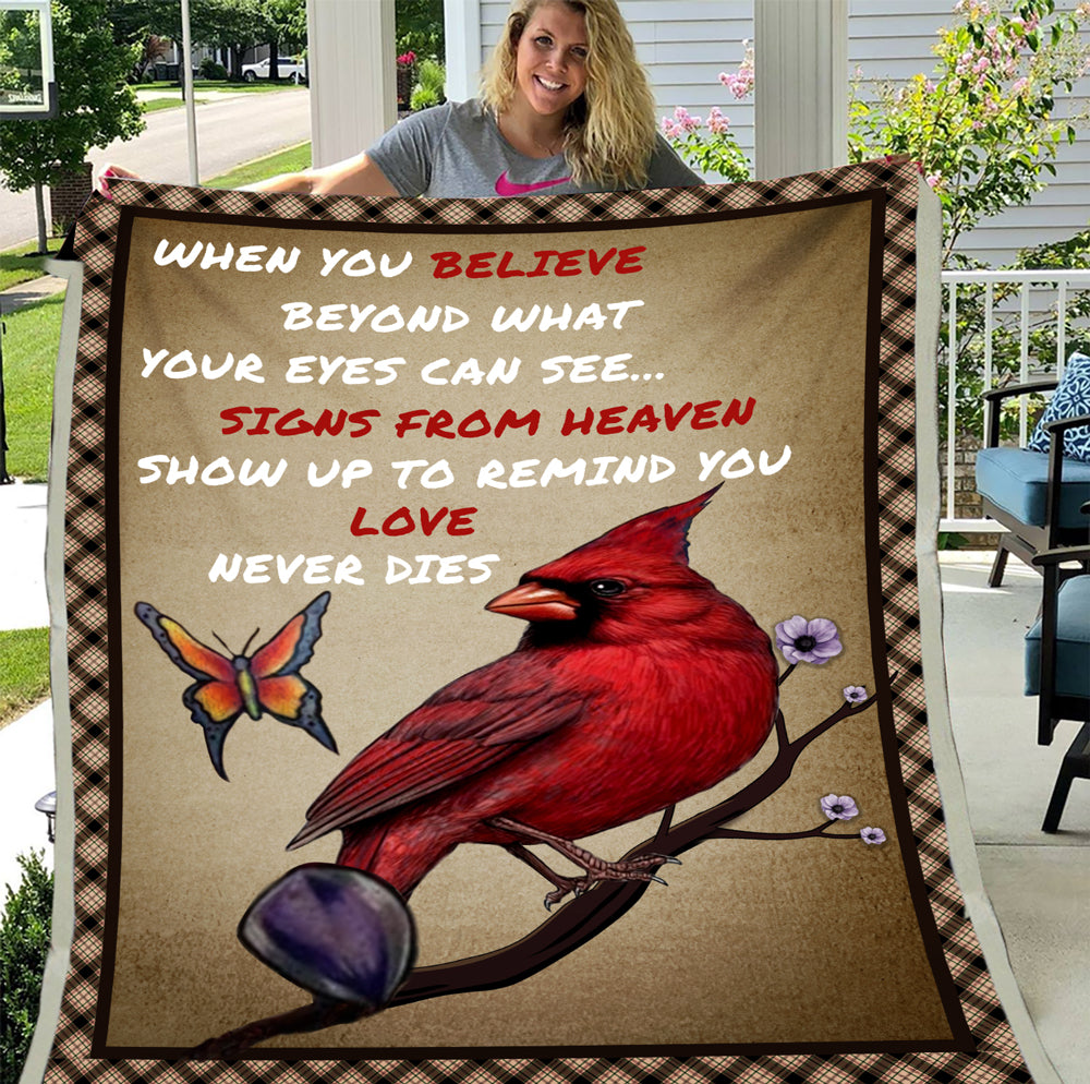Cardinal Bird When You Believe Beyond What Your Eyes Cam See... Signs From Heaven Fleece Blanket - ATMTEE