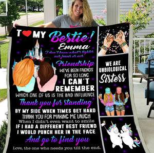 Personalized To My Bestie Blanket, Custom Name Blanket, Gift For Best Friends, Birthday Gift Idea Fleece Blanket - ATMTEE