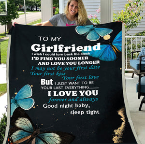 To My Girlfriend I Wish I Could Turn Back The Clock, I Love You Fleece Blanket - ATMTEE