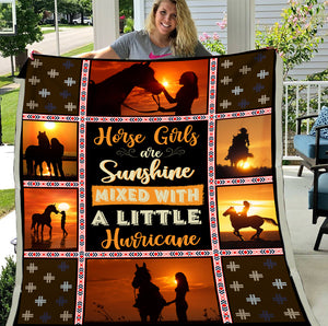 Horse Girl Are Sunshine Mixed With A Little Hurricane Horse Fleece Blanket - ATMTEE
