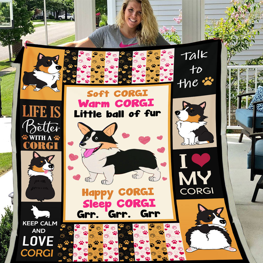 Soft Corgi Warm Corgi Little Ball Of Fur Corgi Dog Lover Gifts Fleece Blanket - ATMTEE