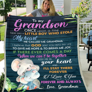 Personalized To My Grandson Once Upon A Time There Was A Little Boy Who Stole My Heart Fleece Blanket - ATMTEE