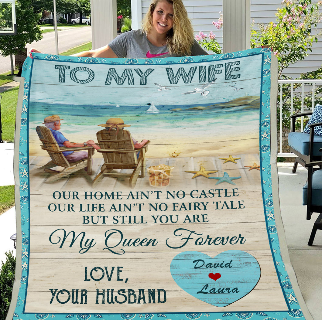 Valentine's Day Gift, Gifts For Her, Personalized To My Wife Our Home Ain't No Castle Fleece Blanket - ATMTEE