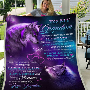 Grandson Blanket Never Forget How Much I Love You, I'll Always Be With You Wolf Fleece Blanket, Lovely Gift For Grandson - ATMTEE