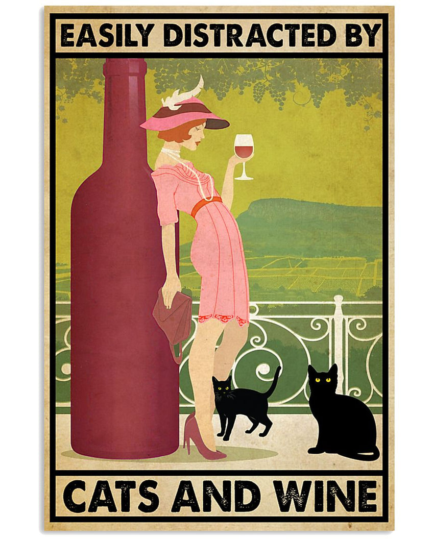 Wine Canvas Easily Distracted By Cats And Wine Matte Canvas - ATMTEE