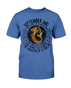 September Girl The Soul Of A Mermaid The Fire Of Lioness T-Shirt - ATMTEE