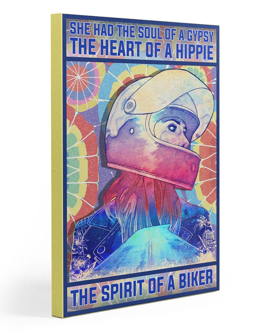 Biker Canvas She Had The Soul Of A Gypsy The Heart Of A Hippie Matte Canvas - ATMTEE