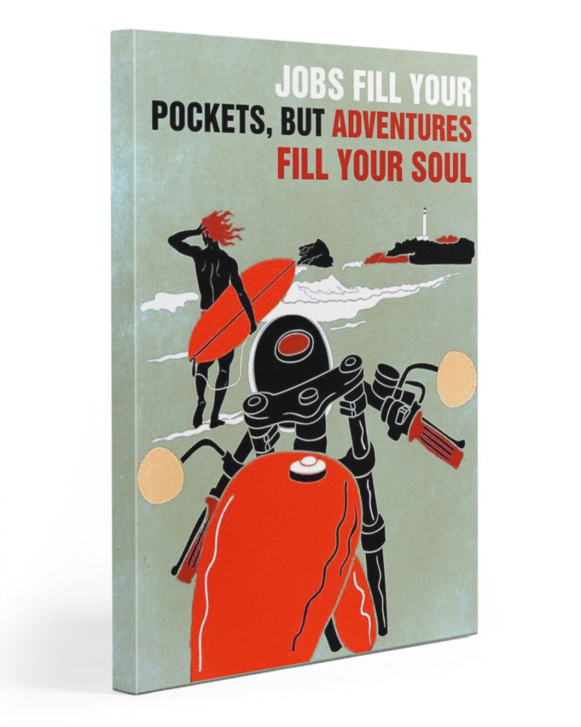 Biker Canvas Jobs Fill Your Pockets, But Adventures Fill Your Soul Matte Canvas - ATMTEE