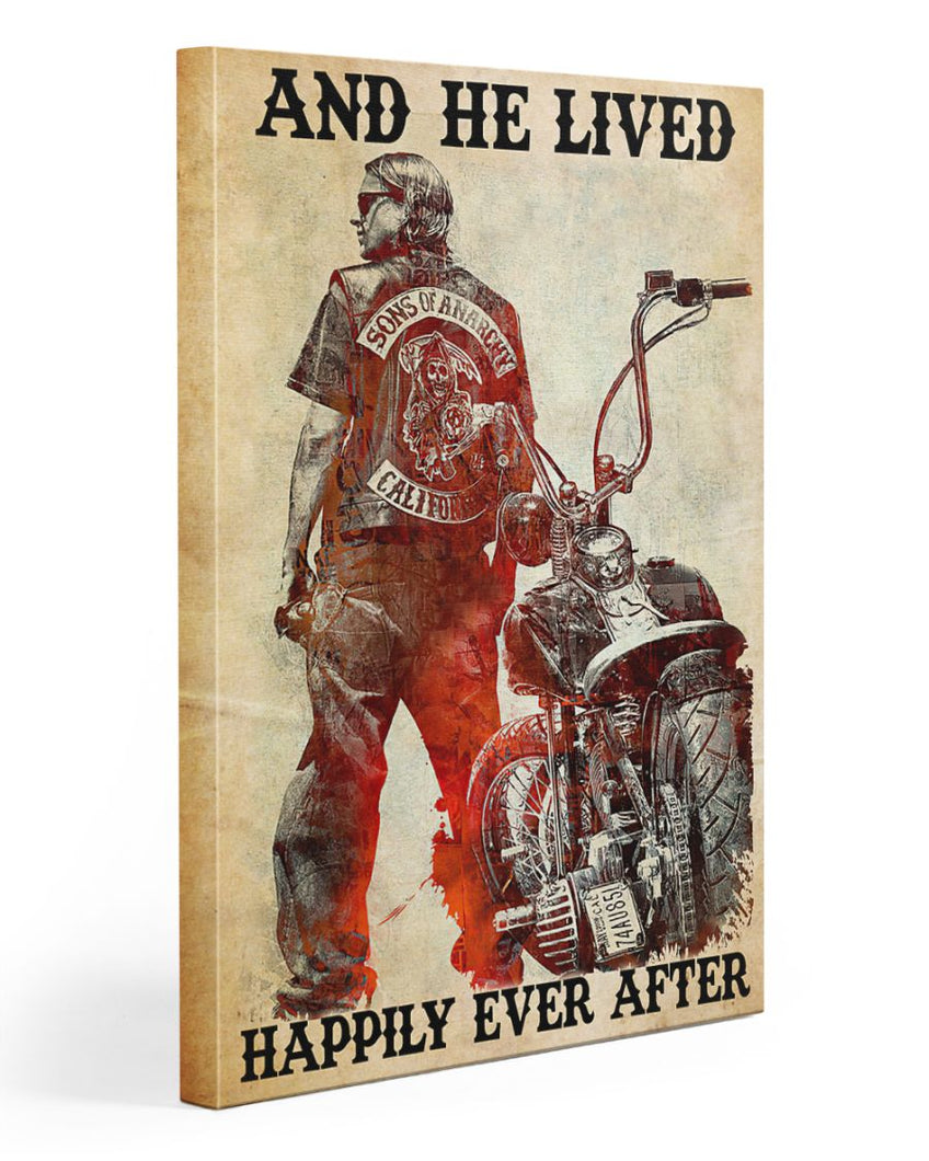 Biker Canvas And He Lived Happily Ever After Matte Canvas - ATMTEE
