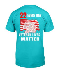 22 Every Day Veteran Lives Matter Veteran Suicide Awareness T-Shirt - ATMTEE
