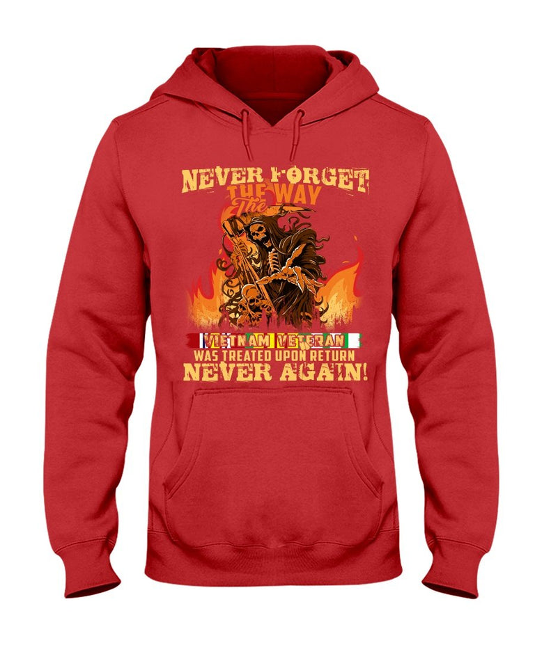 Never Forget The Way The Vietnam Veteran Was Treated Upon Return Never Again Hooded Sweatshirt - ATMTEE