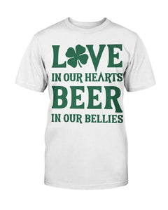 Patrick Shirt Love In Our Heart Beer In Our Bellies T-Shirt - ATMTEE