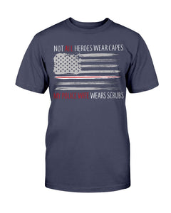 Not All Heroes Wear Capes My Police Wife Wears Scrubs T-Shirt - ATMTEE