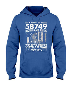 Vietnam Veteran In Memory Of The 58,479 Brothers And Sisters Who Never Returned Vietnam War 1959-1975 Hooded Sweatshirt - ATMTEE