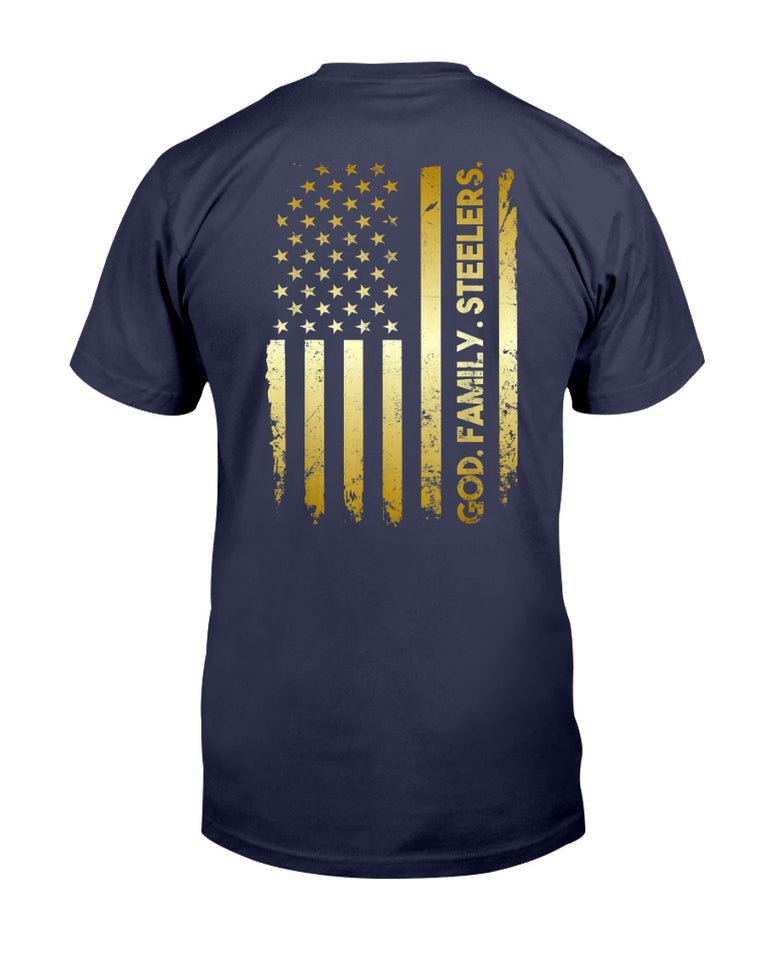 God Family Steelers Pro Us Flag Shirt Father's Day Dad gift T-Shirt - ATMTEE