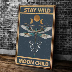 Stay Wild Moon Child Dragonfly Matte Canvas - ATMTEE