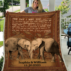 Personalized Elephant The Day I Met You Fleece Blanket, Valentine's Gift, Gift For Husband, Gift For Wife - ATMTEE