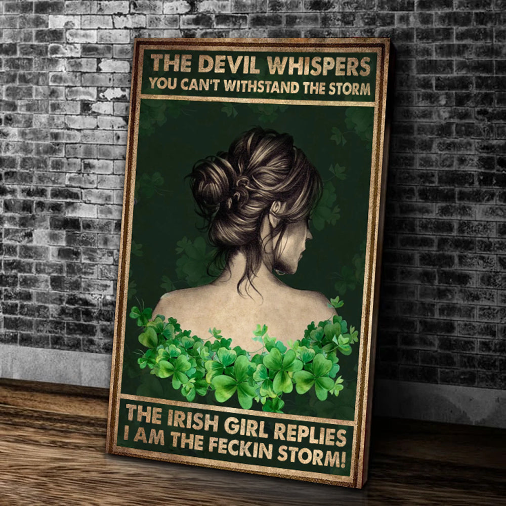 Irish Girl Whispered Back Wall Art Canvas, Patrick's Day, Gift For Patrick's Day